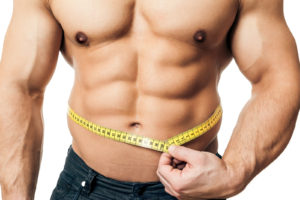 An image of a handsome young muscular sports man measure